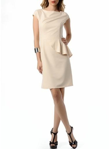 Limon Company Volanlı Kalem Elbise Bej